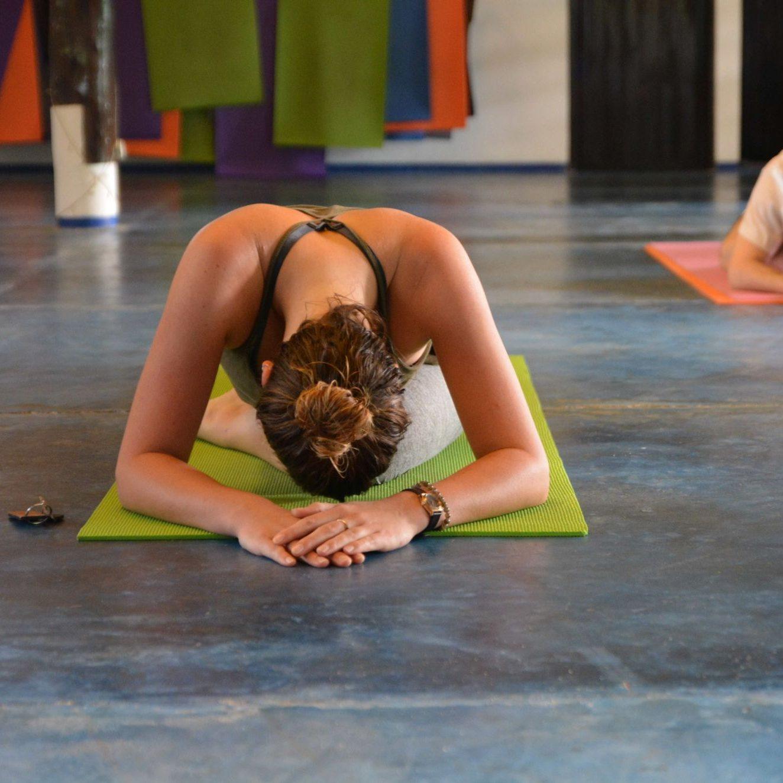 Yoga student doing yin yoga