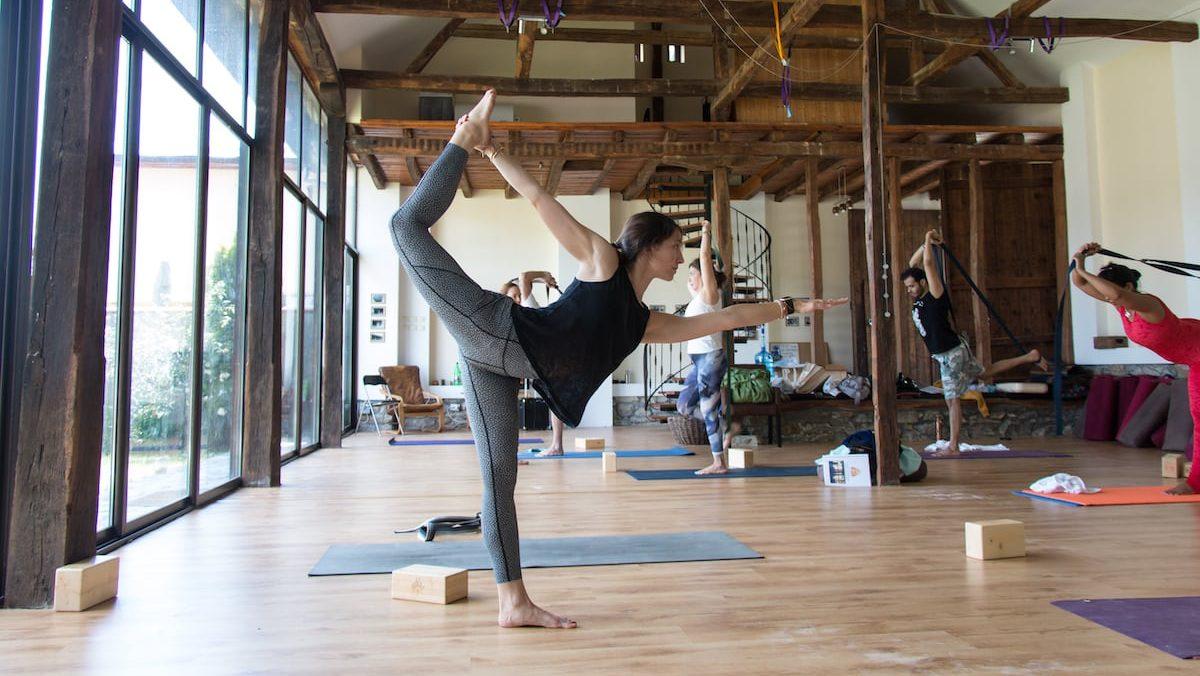 Yoga girl posing in our center Veliko Tarnovo, Bulgaria
