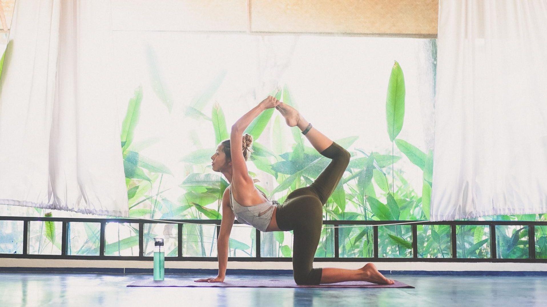 Yoga trainee posing in Thailand